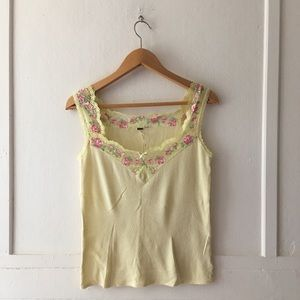 Free People Floral Lace Scalloped Sweetheart Tank